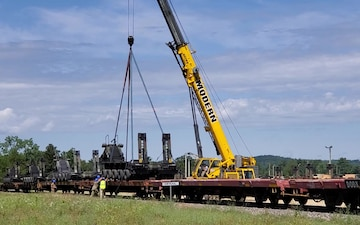 Rail Loading of Army Vehicles, Equipment at Fort McCoy
