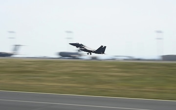F-35A and F-15E Aircraft Take Off to Continue Rapid Forge
