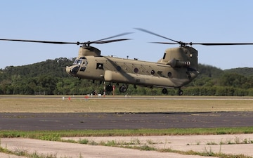 CH-47 Chinook Landing at Sparta-Fort McCoy Airport, Wisconsin