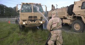 Soldiers Set Up Decontamination Site