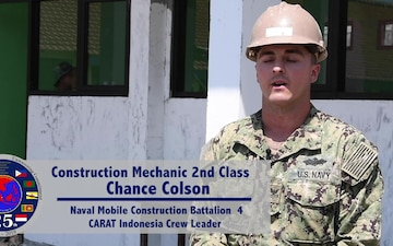NMCB-4, Indonesian National Armed Forces continue construction at SDN Duduk Sampeyan Elementary School during CARAT 2019