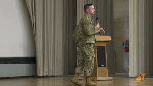 Test Wing commander addresses Team Edwards during Commander's Call