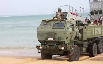 HIMARS transported by landing craft, utility