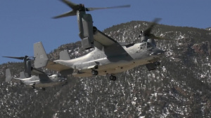 CV-22s from Cannon AFB Landing at Air Force Academy