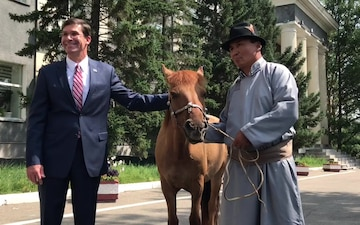 Secretary Esper Presented With Horse During Mongolian Visit