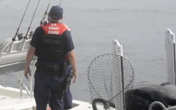 Coast Guard Station Port Aransas conducts safety inspections for Operation Reel-It-In near Corpus Christi, Texas