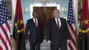 Secretary of State Michael R. Pompeo camera spray with Angolan Minister of External Affairs Manuel Domingos Augusto, at the Department of State