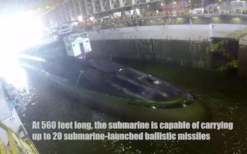 USS Tennessee (SSBN 734) (Blue) Arrives in TRF Dry Dock Time Lapse