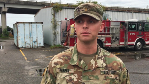 South Carolina National Guard stages LMTVs to assist Charleston Fire Department