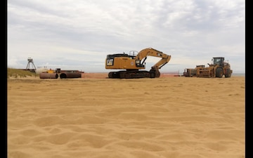 Oceanfront project crews scurry to secure equipment before Dorian