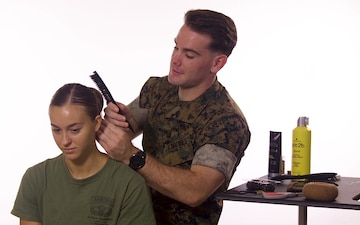 Male Marines attempt to form sock buns