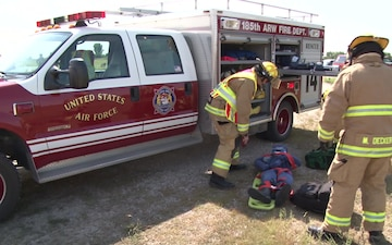 Iowa ANG Firefighters respond to vehicle accident