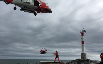 U.S. Coast Guard team services Aids to Navigation off Maine coast