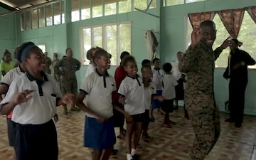 Service members paint Papua New Guinea school, engage community during Exercise Koa Moana 19 community relations event