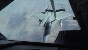 Travis KC-10 Extender refuels 57AW F-15C Eagles