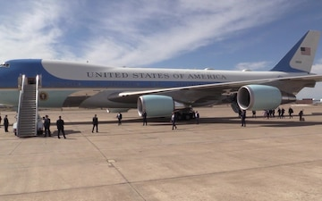 136th Airlift Wing Members Welcome President Donald Trump