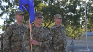 Upcoming First Sergeants practice their marching drills