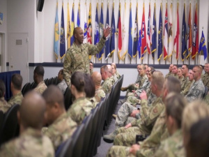 CMSAF Kaleth O. Wright visits the First Sergeant Academy