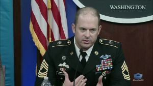 Medal of Honor Nominee Speaks to Reporters at Pentagon