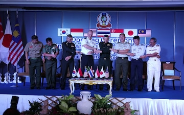 Final planning conference of the upcoming 39th iteration of the Cobra Gold exercise series opening ceremony hand shake