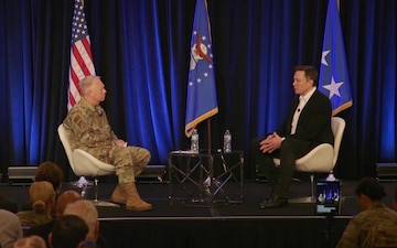 """Space Pitch Day: Elon Musk """"fireside chat"""" with Lt. Gen. John F. Thompson PART 1"""