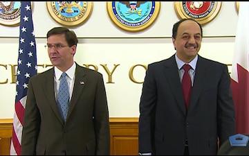 Esper Welcomes Qatari Official to Pentagon