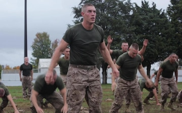 Noah Furbush participates in physical training at Marine Corps Officer Candidates School