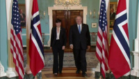 Secretary Of State Pompeo Camera Spray with Norwegian Foreign Minister Ine Marie Eriksen Søreide