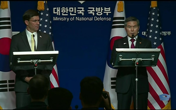Defense Secretary Speaks to the Press in South Korea
