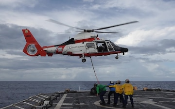 USCGC Stratton (WMSL 752) conducts helicopter operations