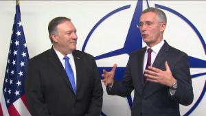 Secretary of State Pompeo Camera Spray with NATO Secretary General Jens Stoltenberg