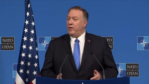 Secretary of State Michael R. Pompeo holds a press availability, in Brussels, Belgium