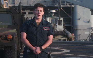 FN Bellflower aboard the USS Germantown (LSD 42) send Thanksgiving message home while deployed in the 7th Fleet AOR