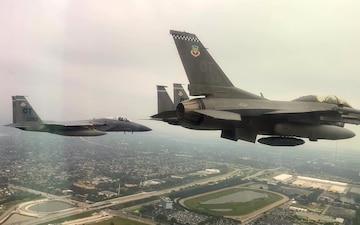 85th TES flies over the Miami Dolphins' stadium