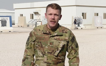 Captain Christopher Belcher sends holiday greetings from Al Udeid Air Base.