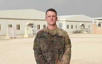 Specialist Anthony Dragojevich sends holiday greetings from Al Udeid Air Base.