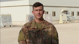 Specialist Dustin Smith sends holiday greetings from Al Udeid Air Base.