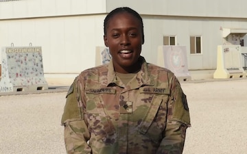 Specialist Keila Saunders sends holiday greetings from Al Udeid Air Base.