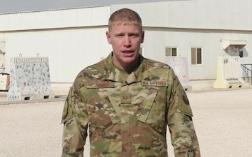 Technical Sergeant Jesse Cummins sends holiday greetings from Al Udeid Air Base.
