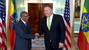 Secretary of State Michael R. Pompeo camera spray with Ethiopian Foreign Minister Gedu Andargachew, at the Department of State