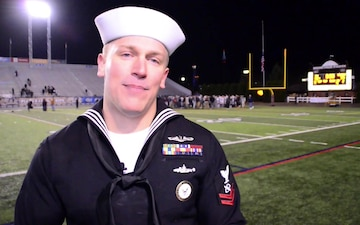 Navy Recruiter attends Alma Mater's State Championship Football Game.
