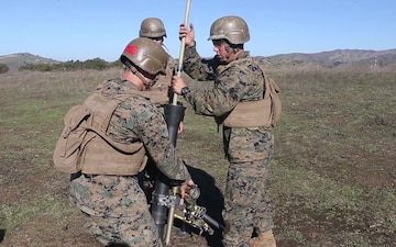 B-Roll: Students with Infantry Training Battalion fire M252 81 mm mortar systems