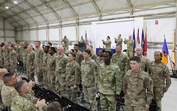 638th ASB Hosts NCO Induction Ceremony for Task Force Warhawk's newest NCOs