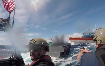 VIDEO: Coast Guard Cutter Bertholf crews interdict suspected low-profile go-fast drug-smuggling vessel in the Eastern Pacific Ocean