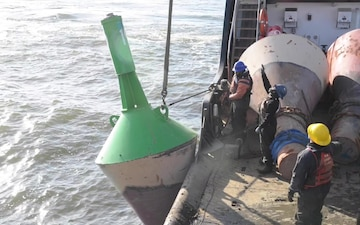 Coast Guard swaps summer buoys with seasonal winter buoys on Chesapeake Bay, Maryland