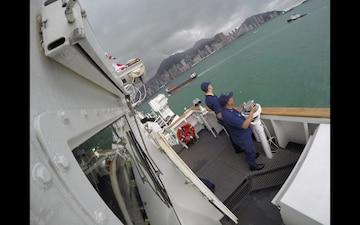 The U.S. Coast Guard Cutter Bertholf (WMSL 750) departs Hong Kong