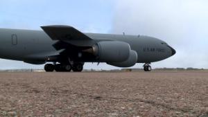 Historic KC-135 Stratotanker makes flyover over Air Force Academy