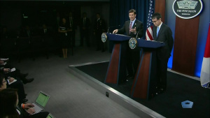 Esper, Japan's Defense Chief Conduct News Conference