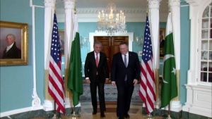Secretary of State Pompeo Camera Spray with Pakistani Foreign Minister