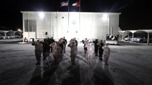 NFL Super Bowl National Anthem formation with shoutout from Al Dhafra Air Base